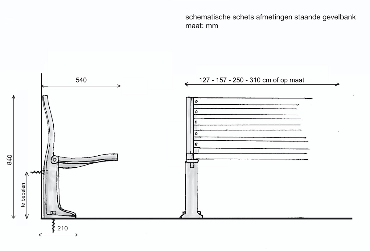 Technische tekening gevelbank